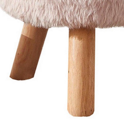 Faux Fur Seated Round Stool with Angled Wood Legs Pink and Brown - BM237362 By Casagear Home BM237362