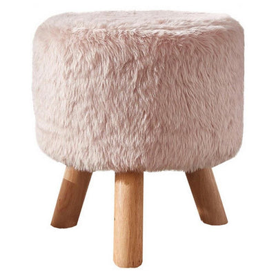 Faux Fur Seated Round Stool with Angled Wood Legs, Pink and Brown - BM237362 By Casagear Home