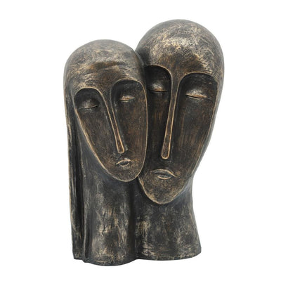 11 Inches Rustic Style 2 Heads Resin Sculpture, Bronze - BM237404 By Casagear Home