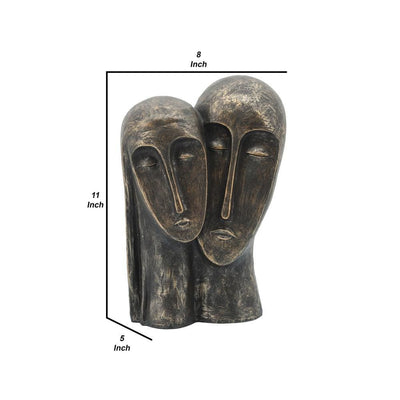 11 Inches Rustic Style 2 Heads Resin Sculpture Bronze - BM237404 By Casagear Home BM237404