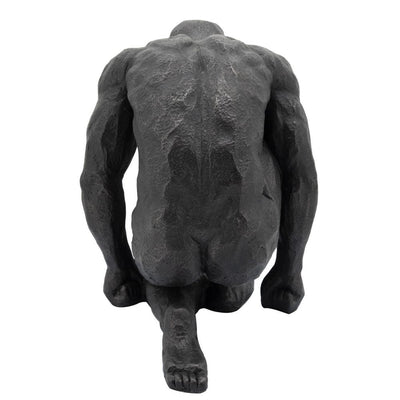 16 Polyresin Kneeling Man Statue with Rustic Accents Black - BM238299 By Casagear Home BM238299