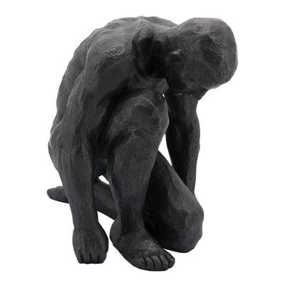 "16"" Polyresin Kneeling Man Statue with Rustic Accents, Black - BM238299 By Casagear Home"
