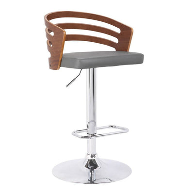 Curved Open Design Leatherette Adjustable Barstool, Brown - BM238327 By Casagear Home