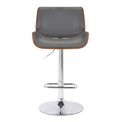 Curved Design Leatherette Barstool with Swivel Mechanism Gray - BM238328 By Casagear Home BM238328