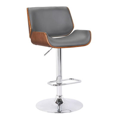 Curved Design Leatherette Barstool with Swivel Mechanism, Gray - BM238328 By Casagear Home