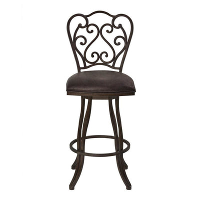 Metal Scroll Design Open Back Barstool with Fabric Padded Seat Gray - BM238332 By Casagear Home BM238332
