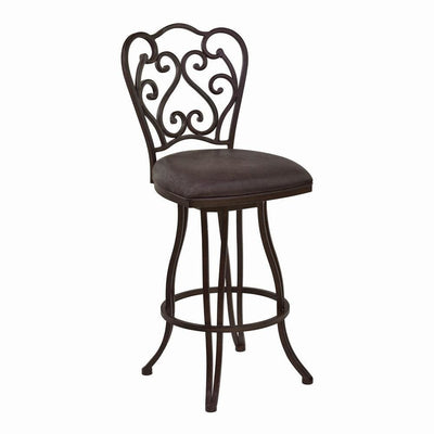 Metal Scroll Design Open Back Barstool with Fabric Padded Seat, Gray - BM238332 By Casagear Home