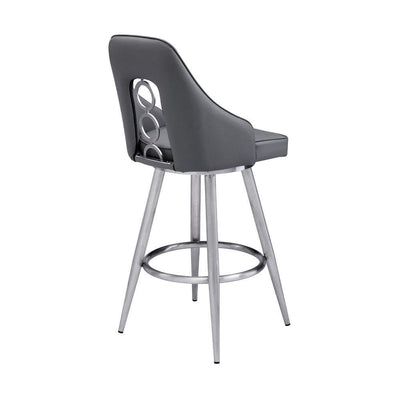 Contemporary Style Leatherette Barstool with Circular Accent Silver - BM238334 By Casagear Home BM238334