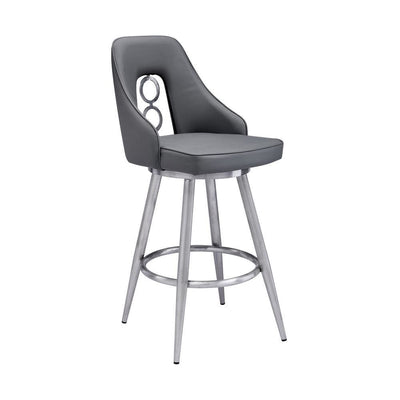 Contemporary Style Leatherette Barstool with Circular Accent, Silver - BM238334 By Casagear Home