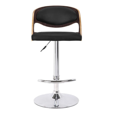 Curved Wooden Back Barstool with Swivel Mechanism Brown - BM238336 By Casagear Home BM238336