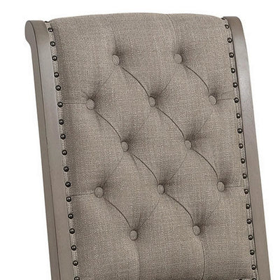 Button Tufted Rolled Back Fabric Side Chair Set of 2 Gray - BM238341 By Casagear Home BM238341