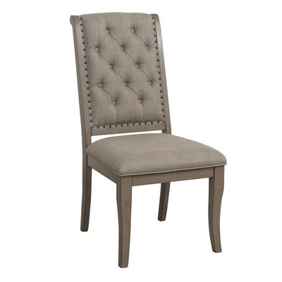 Button Tufted Rolled Back Fabric Side Chair, Set of 2, Gray - BM238341 By Casagear Home