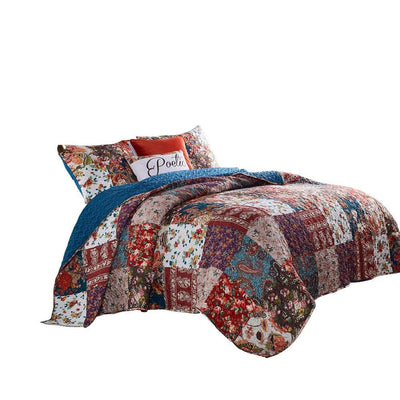 Riga 2 Piece Floral Print Fabric Twin Quilt Set Multicolor - BM238350 By Casagear Home BM238350