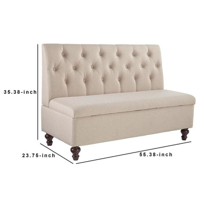 53 Inches Button Tufted Fabric Storage Bench with Turned Legs Beige - BM238375 By Casagear Home BM238375