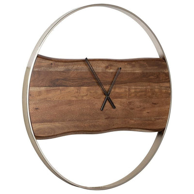 36 Inches Wall Clock with Faux Live Edge Design, Brown and Silver - BM238388 By Casagear Home