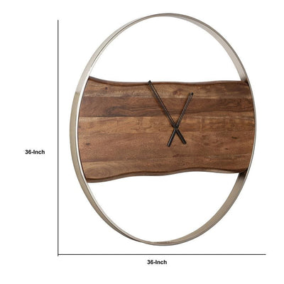 36 Inches Wall Clock with Faux Live Edge Design Brown and Silver - BM238388 By Casagear Home BM238388