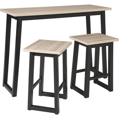 3 Piece Dining Table Set with Sled Base Brown and Black - BM238392 By Casagear Home BM238392