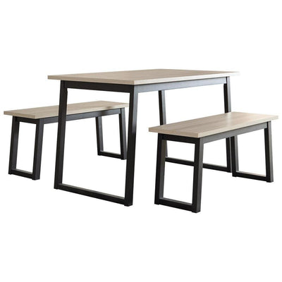 3 Piece Dining Table Set with Sled Base, Brown and Black - BM238392 By Casagear Home