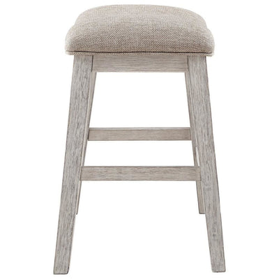 Fabric Upholstered Stool with Angled Legs Set of 2 Beige - BM238393 By Casagear Home BM238393