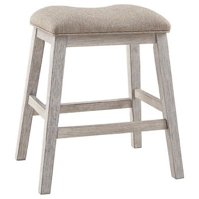 Fabric Upholstered Stool with Angled Legs, Set of 2, Beige - BM238393 By Casagear Home