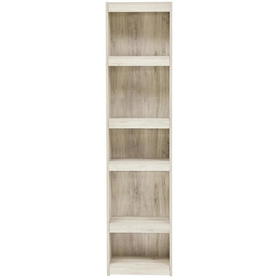 72 Inches 5 Tier Wooden Pier with Adjustable Shelves Washed White - BM238401 By Casagear Home BM238401