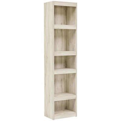 72 Inches 5 Tier Wooden Pier with Adjustable Shelves, Washed White - BM238401 By Casagear Home
