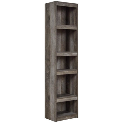 72 Inches 5 Tier Wooden Pier with Adjustable Shelves, Gray - BM238403 By Casagear Home