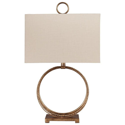 28 Inches Table Lamp with Ring Metal Base, Beige and Gold - BM238406 By Casagear Home