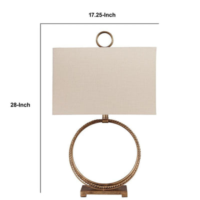 28 Inches Table Lamp with Ring Metal Base Beige and Gold - BM238406 By Casagear Home BM238406