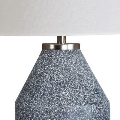 25 Inches Table Lamp with Textured Metal Vase Base White and Blue - BM238407 By Casagear Home BM238407
