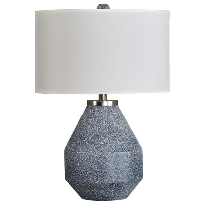 25 Inches Table Lamp with Textured Metal Vase Base, White and Blue - BM238407 By Casagear Home