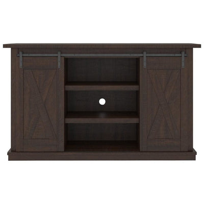 54 Inches Wooden TV Stand with 2 Barn Sliding Doors Brown - BM238419 By Casagear Home BM238419