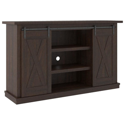 54 Inches Wooden TV Stand with 2 Barn Sliding Doors, Brown - BM238419 By Casagear Home