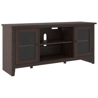 60 Inches Wooden TV Stand with 2 Glass Panel Doors, Brown - BM238420 By Casagear Home
