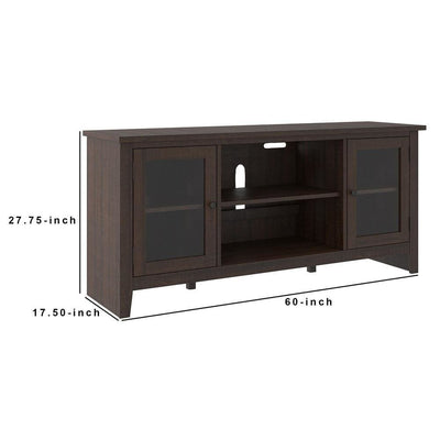 60 Inches Wooden TV Stand with 2 Glass Panel Doors Brown - BM238420 By Casagear Home BM238420