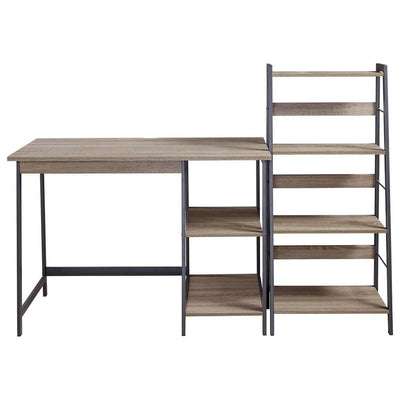 Wood and Metal Desk with Ladder Shelf Brown and Black - BM238423 By Casagear Home BM238423