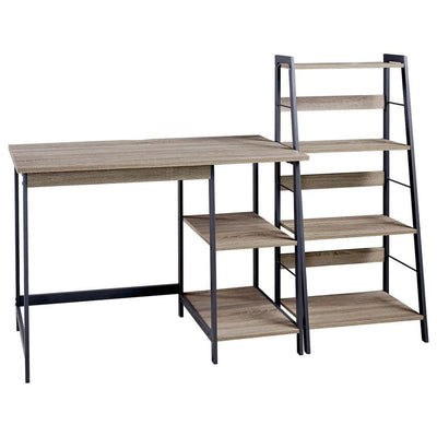 Wood and Metal Desk with Ladder Shelf, Brown and Black - BM238423 By Casagear Home