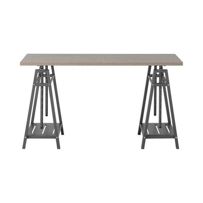 47 Inches Wooden Adjustable Desk with Sawhorse Legs Brown and Gray - BM238424 By Casagear Home BM238424