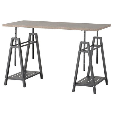 47 Inches Wooden Adjustable Desk with Sawhorse Legs, Brown and Gray - BM238424 By Casagear Home