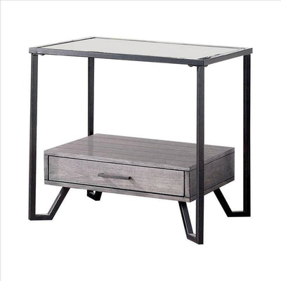 24 Inch Metal End Table with Glass Top and 1 Drawer, Gray By Casagear Home
