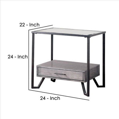 24 Inch Metal End Table with Glass Top and 1 Drawer Gray By Casagear Home BM239838