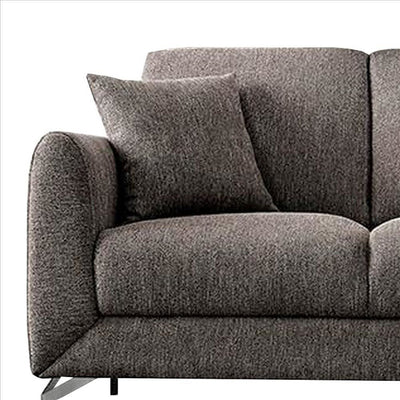 54 Inches Loveseat with Fabric Padded Seat and Metal Legs Gray By Casagear Home BM239845