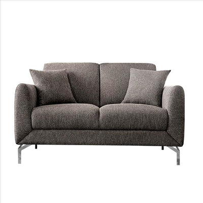 54 Inches Loveseat with Fabric Padded Seat and Metal Legs, Gray By Casagear Home