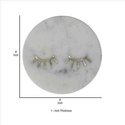 Marble Tray with Round Shape and Lashes Inlaid Accent White By Casagear Home BM239873