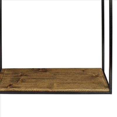 Wall Shelf with Wood and Square Metal Frame Large Brown By Casagear Home BM239881