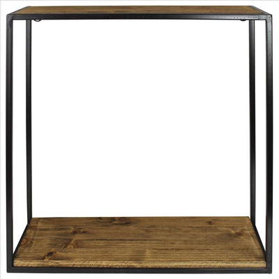 Wall Shelf with Wood and Square Metal Frame, Large, Brown By Casagear Home