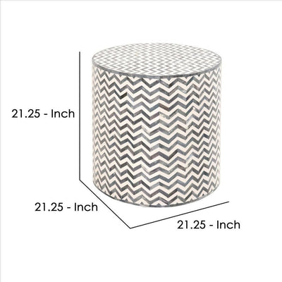 21 Inch Chevron Pattern Resin End Table White and Gray By Casagear Home BM239900