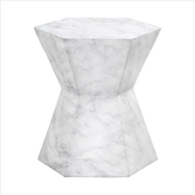 Hexagonal Hourglass Shape Faux Marble Concrete Accent Table, White By Casagear Home