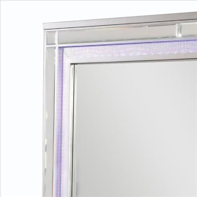 50 Inch Contemporary Textured Mirror with LED Silver By Casagear Home BM240029