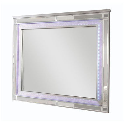 50 Inch Contemporary Textured Mirror with LED, Silver By Casagear Home
